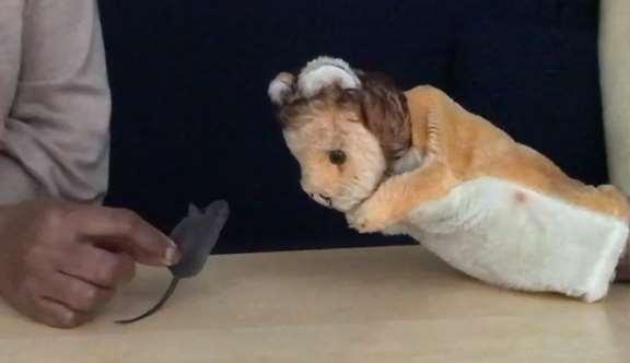 Handdocka lejon och liten leksaksmus